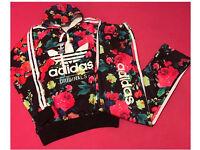 Ladies Black & Pink Floral Tracksuit Brand New