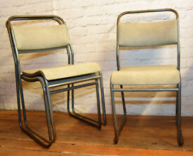22 available grey stacking vintage chairs antique dining kitchen industrial restaurant seating cafe