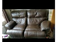 Brown leather 2 seater sofa (reclining )