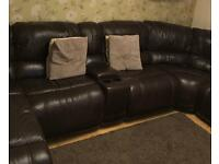 Brown Leather recliner corner sofa with storages pouffee, media unit with storage and cup holders