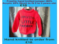 Freshly hand knitted jumper with Worcester little farmer writing, to fit 2-3 years old.