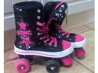 Size 3-4 Zinc Retro Lace Up Quad Rollerskates