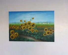 Sunflowers Raised Oil Painting-Charles Benolt.36x24ins.