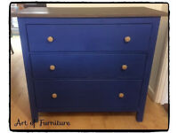 Wooden Chest Of 3 Drawers Hand Painted in Napoleonic Blue Chalk Paint Upcycled.