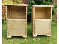 Pair Vintage Lloyd Loom style bedside cabinets, with cupboard and shelf - set of 2