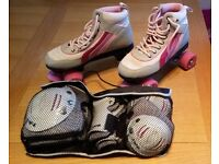 Ladies' quad (classic) roller skates size 6, with pads