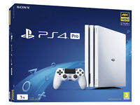 SONY WHITE PLAYSTATION PS4 PRO CONSOLE - 1TB 4K with 2 Controllers and 13games