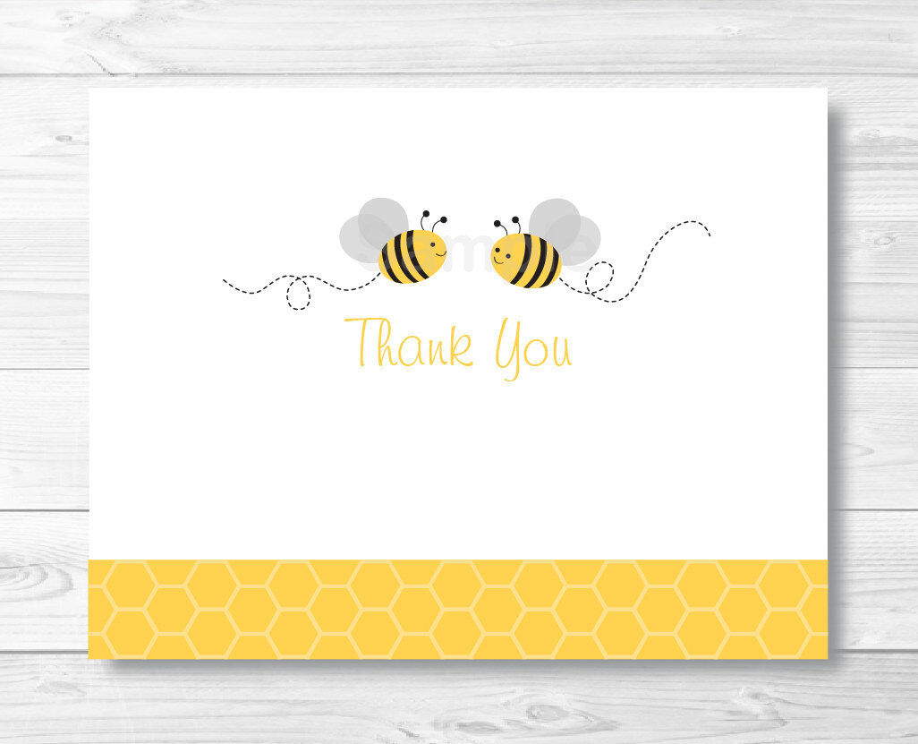 Yellow & Grey Bumble Bee Gender Neutral Thank You Card