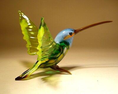 "Blown Glass ""Murano"" Art Green and Yellow HUMMINGBIRD Bird Figurine w/ Blue Head"