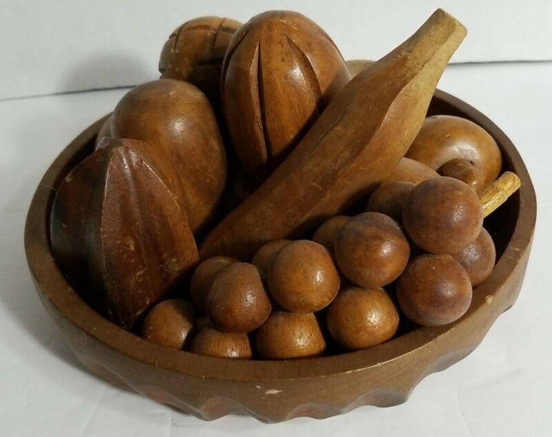 Vintage Mid Century Wooden Fruit Bowl Set 12 Piece