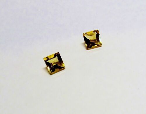 Natural Citrine November Gemstone 5mm Matched Pair Parallel Square Facet Cut