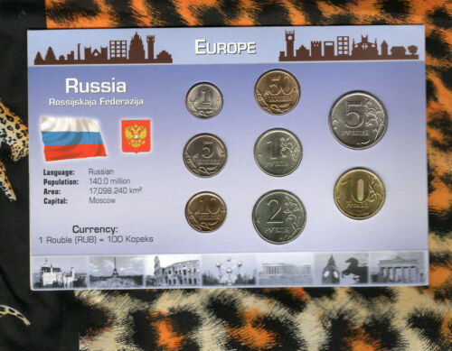 Coins from Around the World Russia 8 coin set UNC 1998-2011 10 Rubles 2011