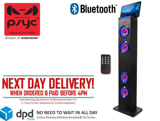 Sumvision PSYC Torre XL Bluetooth Tower Speaker 24W Radio, Remote FREE DELIVERY