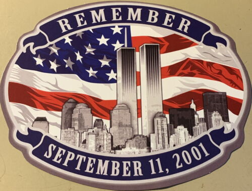"""9/11 DECAL Sticker REMEMBER September 11, 2001 WOrld Trade Twin Towers 4"""" x 3"""""""
