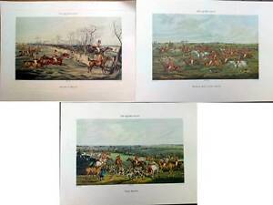 3 ANTIQUE VINTAGE SPORTING FOX HUNTING HOUND PRINT PICTURE EQUINE MEMORABILIA