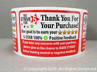100 Roll Ebay Thank You For Your Purchase 5 Star Fb Shipping Labels Stickers 2X3