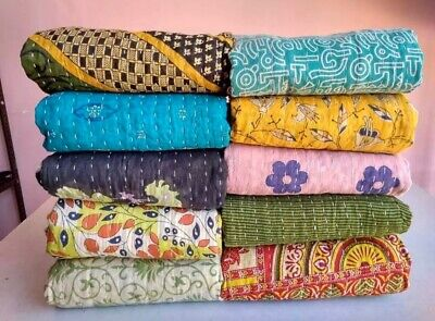Vintage Kantha Quilt Indian Handmade Cotton Bedspread Couch Cover Bedding Throw Handmade Cotton Quilt Throw