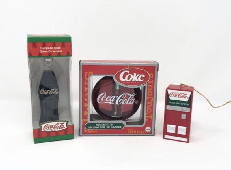 Coca Cola Christmas ornaments - 3 Vintage