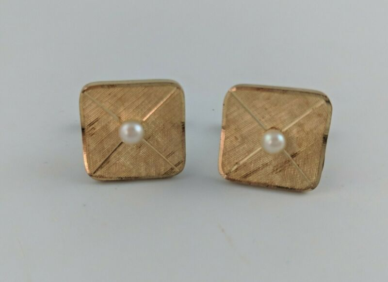 Vintage Estate 14K Gold Filled Textured Curved Pearl Cufflinks 10 grams EW