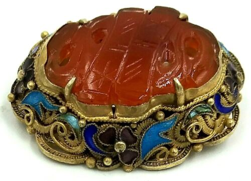 Chinese Export Gold Over Sterling Enamel Hand-Carved Carnelian Filigree Brooch