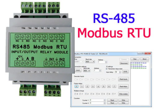 RS485 Modbus RTU Relay (DIN Rail, 3 channel relay + 2 inputs, 2 counters)