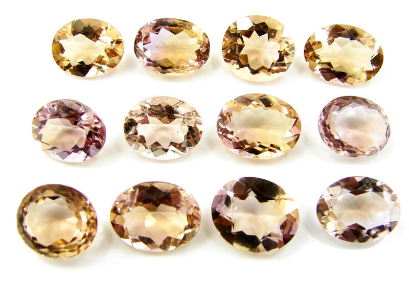 39.80 Ct Natural Bi-Color Ametrine Oval Cut 10-12 mm Gemstone 12 Pcs Lot - 45034