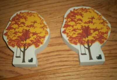 Cats Meow Village Limited Edition 2 Halloween or Fall Trees with swing