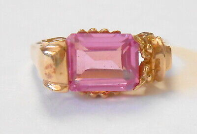 Emerald Cut 8x6 mm Pink Topaz Spinel 14K Yellow Gold Unique Setting Ring Size 6