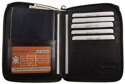 Genuine Leather Travel Zip Around Bifold Passport Cover Wallet Purse ID window