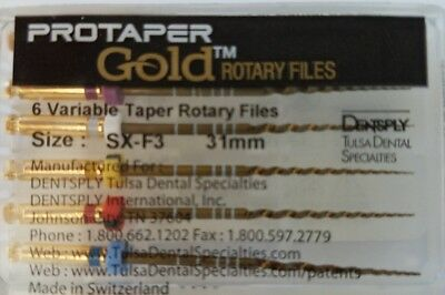 Protaper Gold Rotary Files 31 Mm Sx-f3 Dentsply Tulsa Assorted Endodontics Endo