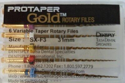 Protaper Gold Rotary Files 31 Mm Sx-f3 Dentsply Tulsa Assorted Endodontics Endo