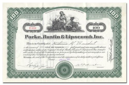 Parke, Austin & Lipscomb, Inc. Stock Certificate (New York Publisher)