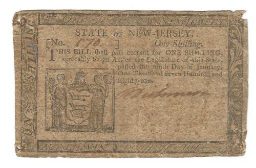 1781 NEW JERSEY ONE SHILLING-NJ-194-VG, Net-ORIGINAL COLONIAL-JANUARY 9, 1781