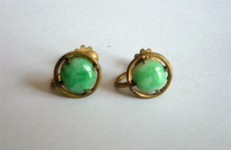 Antique Gilt Brass Green Peking Glass Jade Earrings Dainty Screw backs