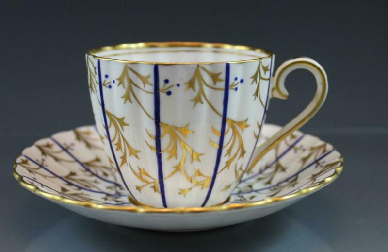 Royal Chelsea English Bone China Teacup & Saucer 763A Gold Leaves Blue Dots