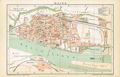 Stadtplan von MAINZ 1894 Original-Graphik