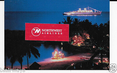 American Hawaii Cruises Ss Constitution At Night Beach Party Show Postcard