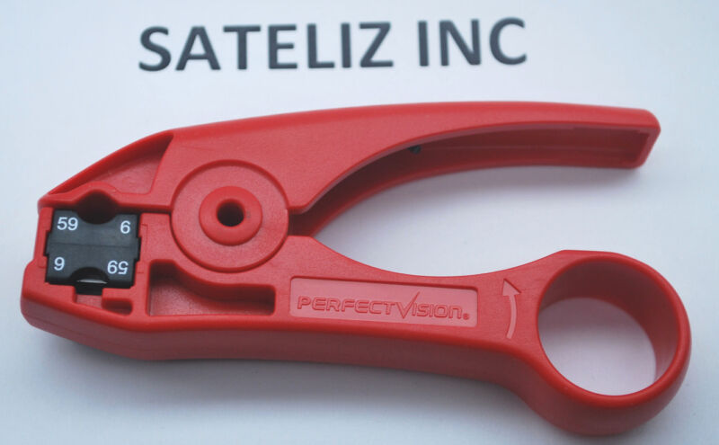 RG6/59 COAXIAL STRIPPER CABLE TOOL PERFECT VISION PVD596250 RED W/DUAL BLADE