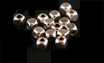50PCS ANTIQUE SILVER CUBE SQUARE  SPACER BEADS 4mmx4mm