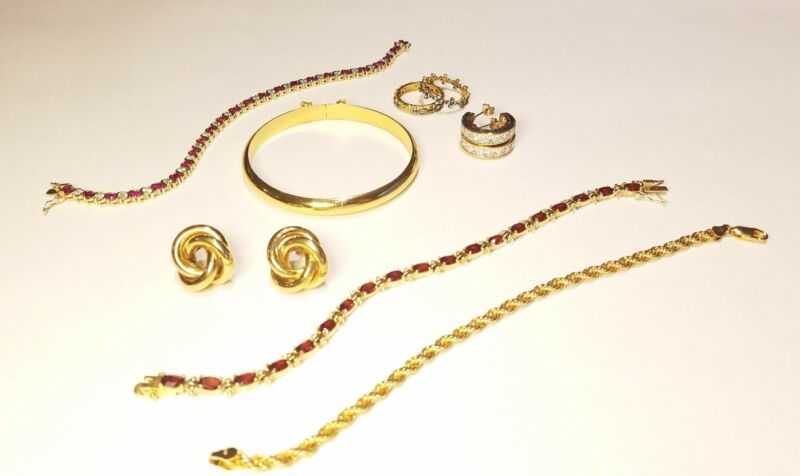 SOLID STERLING SILVER JEWELRY LOT (GOLD OVER) 65 GRAMS TOTAL
