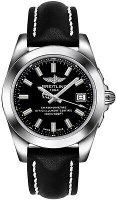 Brand New Breitling Galactic 36 Black Dial Men's Watch W7433012/BE08-414X