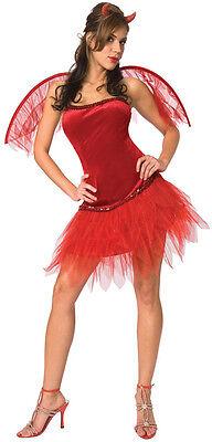 Ladies Sexy Red Evil Devil + Wings Halloween Fancy Dress Costume Outfit - Red Devil Dress Kostüm