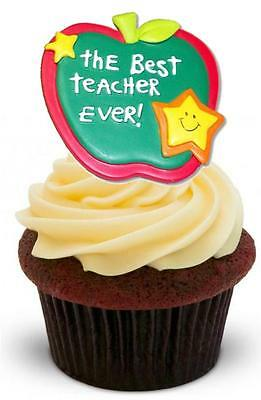 NOVELTY BEST TEACHER EVER 12 STAND UP Edible Cake Toppers End Of Term