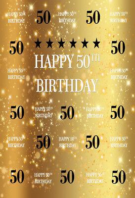 5x7FT Happy 50th Birthday Photography Background Gold Backdrop Photo Studio