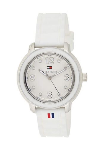 Tommy Hilfiger Watch With 36mm White Face & White Silicone Band 1781418 $100 Jewelry & Watches