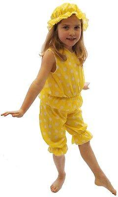 Festzug - Gelb & Weiß Getupfte Baden Kostüm Belle Sizes 8 - Plus
