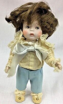 Vintage All Bisque Porcelain Jointed Boy Doll With Hair Handmade Clothing