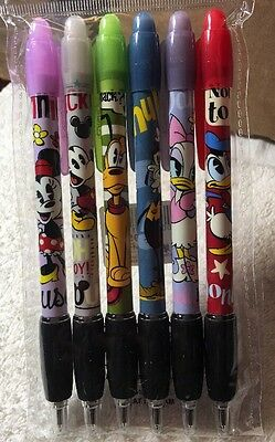 Disney Parks Mickey And Friends Cuties 6 Pack Pen Set Black Ink