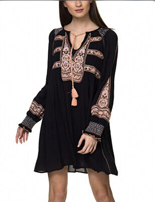 Free People Black Wind Willow Embroidered Tunic Dress Size Large