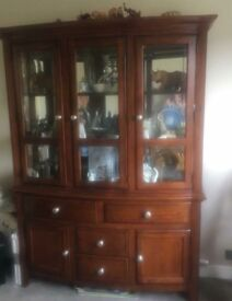 Display cabinet/wall unit and Dining table and 6 chairs (including two carvers)